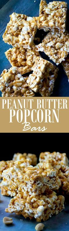 Peanut Butter Marshmallow Popcorn Bars - Chewy peanut butter, marshmallows and popcorn bars studded with salty, crunchy peanuts. It's like rice krispies treats, but with popcorn!
