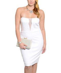 Another great find on #zulily! White Semisheer-Panel Strapless Dress - Plus #zulilyfinds