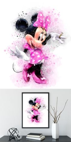 Disney Minny Mouse Wall Art Watercolor Art Poster Print Home Decor Kids Decor Nursery decor Disney Crafts, Disney Art, Walt Disney, Watercolor Disney, Watercolor Art, Lelo And Stich, Lilies Drawing, Baby Barn, Cute Disney Drawings