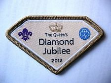 GIRL GUIDES & SCOUTS U K THE QUEENS DIAMOND JUBILEE 2012 CLOTH BADGE