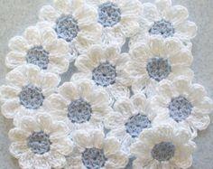 Apliques de flores de crochet juego de 12 por IreneStitches