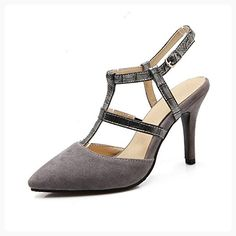 AdeeSu Womens High-Heels Slip-Resistant Grey Frosted Pumps Shoes 4 B(M) US (*Partner Link)