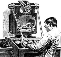 "Hugo Gernsback's 1954 solution to the doctor shortage was the ultimate in bringing the patient to the overworked physician: an updated version of the 1924 Radio Doctor called the ""Teledoctor."""