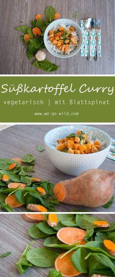 Veganes Süßkartoffel Curry mit Blattspinat