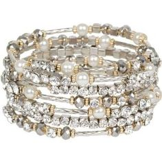 Breathtaking Hematite and Clear Crystal on Silver Tone Wrap Bracelet with Faux Pearl Accents