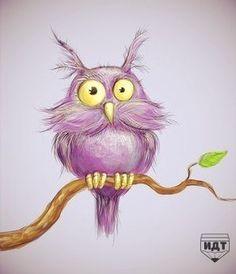 owl by aravana on DeviantArt Owl Illustration, Illustrations, Owl Artwork, Owl Bags, Whimsical Owl, Purple Owl, Felt Owls, Owl Pictures, Beautiful Owl