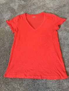 J. Crew Vintage Cotton Red Vneck Short Sleeve Shirt Women's Sz M* #JCrew #KnitTop