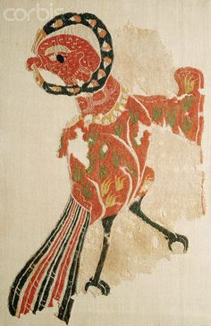 Coptic textile - bird - great colours