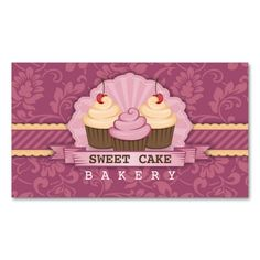 Cupcake Bakery Cute Business Card. Make your own business card with this great design. All you need is to add your info to this template. Click the image to try it out!