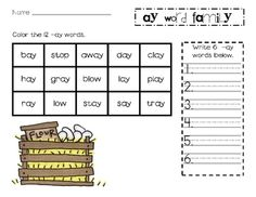 Printables Word Family Ay word families interactive notebooks and on pinterest family ay