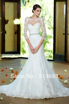 Luxurious Long Train Girl Mermaid Buttons 3/4 Sleeves Lace Trumpet New Arrival 2014 Wedding Dress with Sleeves-in Wedding Dresses from Appar...