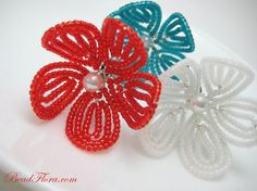flower hair pins, Americana  red white blue beaded flowers 4th of July, independence  patriotic