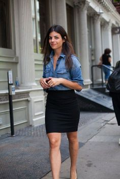 A blue denim shirt and a black mini skirt are perfect for both running errands and a night out.   Shop this look on Lookastic: https://lookastic.com/women/looks/blue-denim-shirt-black-mini-skirt/10679   — Black Mini Skirt  — Blue Denim Shirt