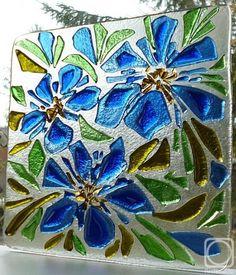 "Репина Алёна. Витражное панно ""Лето - навсегда"" стекло, фьюзинг Stained Glass Flowers, Stained Glass Crafts, Stained Glass Patterns, Fused Glass Plates, Fused Glass Art, Mosaic Art, Mosaic Glass, Smash Glass, Glass Fusion Ideas"
