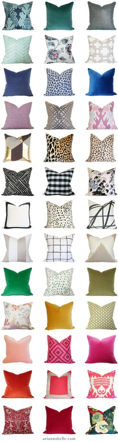 Luxury decorative pillows in every color http://ariannabelle.com/shop
