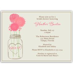 Invite guests to your bridal shower with this country wedding themed invitation featuring an initialed mason jar holding pink flowers.