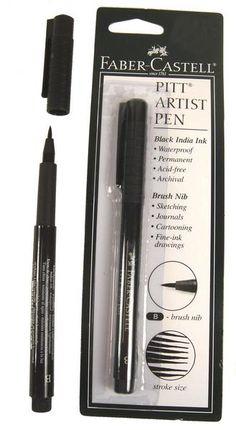 Faber-Castell Pitt Brush Artist Pens. I am a big fan of these pens. Carry a set everywhere.