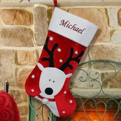 Embroidered Reindeer Christmas Stocking by gfyllc on Etsy, $24.98