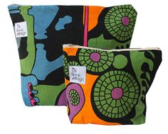Toiletry bag/zipper pouch set of two made by ReDesignandReCycled