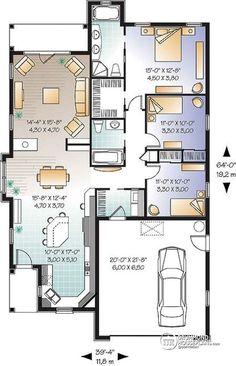 Plan maison carr bioclimatique maison de plain pied en 2019 plan maison 2 chambres maison - Cuisine darty modele sorbonne ...
