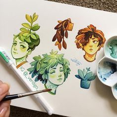 Using up left over colours from the tiny house on some plant nymphs 😊 Pretty Drawings, Cool Art Drawings, Beautiful Drawings, Art Sketches, Desenho Kids, Arte Sketchbook, Tattoo Mermaid, Mermaid Mermaid, Vintage Mermaid