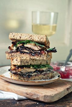 Grilled Turkey and Cremini Sandwich with Fig Jam and Feta