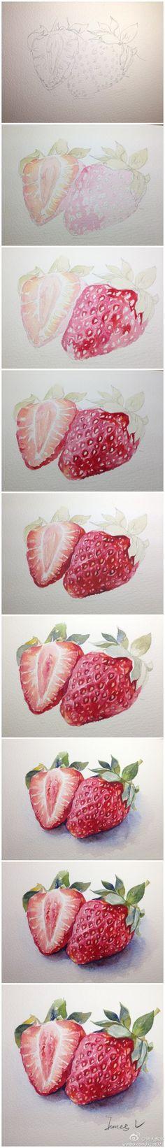 【绘画教程】 蔬果类示范汇总,by @Djibril7000 。老师示范的这么好,想知道同学们画的怎么样吗?先去吃水果解眼馋,下周公布 http://t.cn/SM9ltF 草莓画法