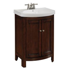 Shop Allen + Roth Moravia Sable Integral Single Sink Poplar Bathroom Vanity  With Vitreous China Top