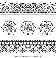 Henna tattoo flower template and seamless border. Set of ornamenta… Henna tattoo flower template and seamless border. Set of ornamental patterns in the oriental style. Mandala Tattoo Design, Mandala Arm Tattoo, Mehndi Style, Mehndi Art, Henna Art, Henna Mehndi, Mandala Art Lesson, Mandala Painting, Mandala Drawing