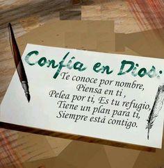 Confía en Dios: Te reconoce por nombre, Piensa en ti, Pelea por ti, Es tu refugio, Tiene un plan para ti, Siempre está contigo.