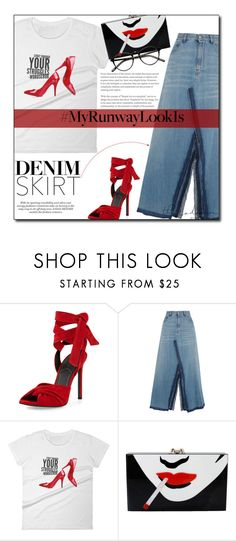 """Denim Skirt Power Look"" by sherieme ❤ liked on Polyvore featuring Kendall + Kylie, MM6 Maison Margiela, Charlotte Olympia, denim, denimskirt, polyvorecontest, MyPowerLook and MyRunwayLookIs"