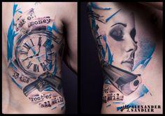 #Clock #gun and #face #blue #trash #polka #tattoo by #Alexander #Sandler #kipod #kipodtattoo