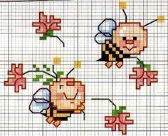 Cross stitch pattern, cute bees.