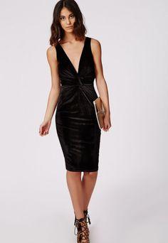Valerie Velvet Strappy Deep V Ruche Midi Dress Black - Dresses - Midi Dresses - Missguided