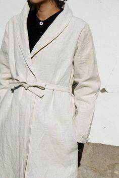Antique linen white coat/handmade by French by SASAKIYOHINTEN