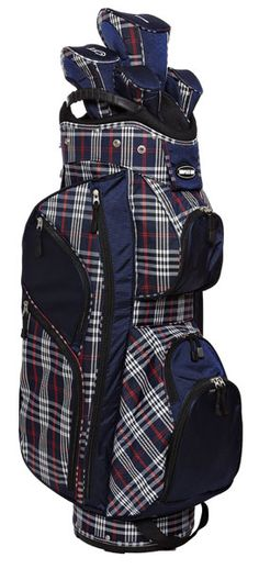 Check out our new Plaid Naples Bay Ladies Cart Golf Bag if you need a very organized golf bag! #golf #golfbags #lorisgolfshoppe