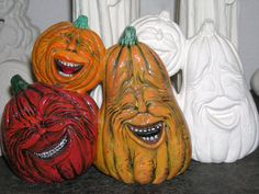 Halloween Pumpkin Faces Ready to Paint Ceramics by CrazyOldLadyJC