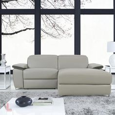 AURA TOP GRAIN LIGHT GREY LEATHER SMALL SECTIONAL SOFA WITH RIGHT FACING CHAISE