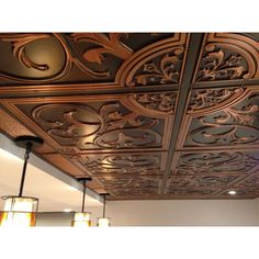 Lilies and Swirls 2 ft. x 2 ft. Lay-In or Glue-Up Ceiling Tile in Antique Copper Copper Ceiling Tiles, Drop Ceiling Tiles, Ceiling Murals, Ceiling Panels, Ceiling Decor, Ceiling Design, Ceiling Ideas, Curtain Designs For Bedroom, Old World Kitchens