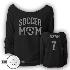 Customized Soccer Mom Ladies' Terry Raw-Edge 3/4-Sleeve Raglan Shirt