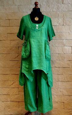 Sarah Santos Lagenlook Tunic Green Linen