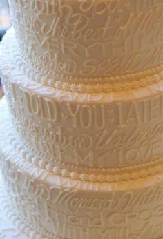 wedding cake with lyrics on it