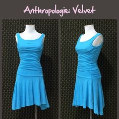 Anthro Dropwaist Ruche Bodice Dress by Velvet 100% cotton, double layered, fitted bodice with a long waistline that's Ruched on both sides.  Asymmetric two tiered skirt, bright happy blue color.  Tts. Great condition. **  Prices are as listed- No offers please.  I'm happy to bundle to save shipping costs, but there are no additional discounts.  No trades, paypal or condescending terms of endearment  ** Anthropologie Dresses
