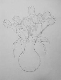 Made with black pencil . Made with black pencil . Simple Line Drawings, Easy Drawings, Pencil Drawings, Watercolor And Ink, Watercolor Flowers, Watercolor Paintings, Flower Sketch Pencil, Tulip Drawing, Flower Drawing Tutorials