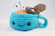 Amigurumi tea cup pincushion by Jenn