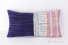 """Boho Pillow, Hmong Pillow Case, Bohemian Decor Indigo Pillow Batik, Gipsy Decor Hmong Throw Pillow Navy Lumbar Pillow 22"""" x 12"""" / 293"""