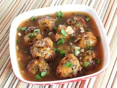 Deep fried Mixed Vegetable Dumplings in Chinese Sauce and Vegetable Gravy