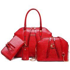 Stylish Women's Tote Bag With Crocodile Print and Zip Design