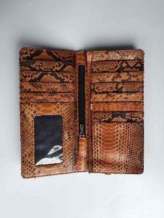 Genuine PHYTON Snakeskin Leather UNISEX Long Bifold Wallet BROWN 11 Card Slots #Bifold #trifold #Wristlet #snakeskin #reptileskin #lizardskin #cobraskin #phytonskin #leathercraft #leather #indonesia #cobra #phyton #lizard #leathergoods #leatherwork #wallet #purse