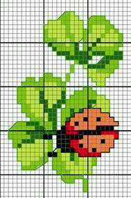 Coccinella porta fortuna - punto croce - cross Stitch - Kreuzstich - Punto de Cruz